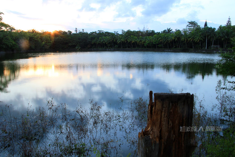 夕阳下的白鹭湖,虽然景区已经破败,但对于湖来说就是回归自然。