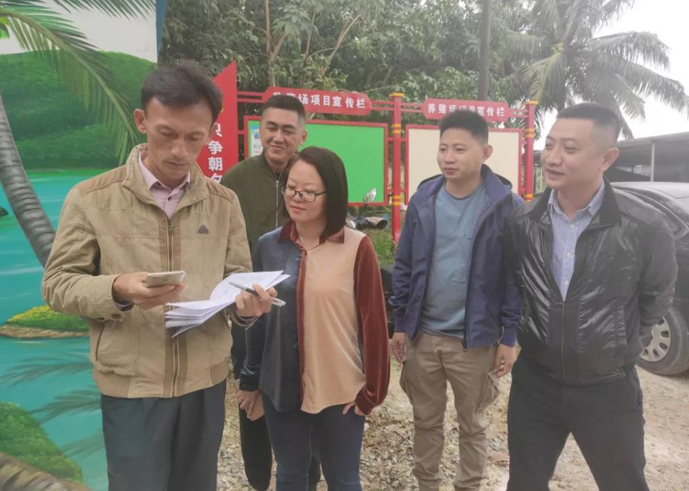 东阁镇镇村干部、乡村振兴工作队员正在计算生猪销售收益。